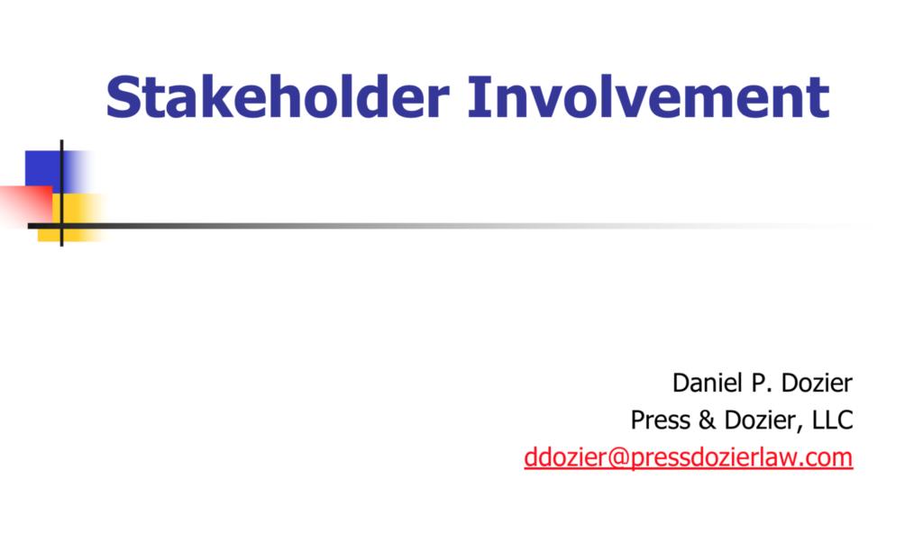Stakeholder Involvement Chesapeake Legal Alliance - Legal type documents